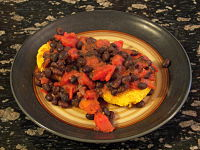corn fritters with black beans