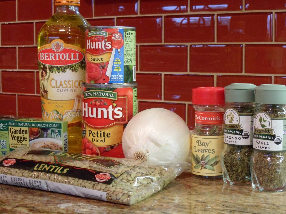 lentil stew ingredients